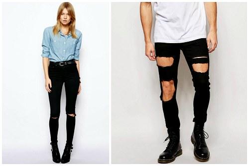 черные модные брюки