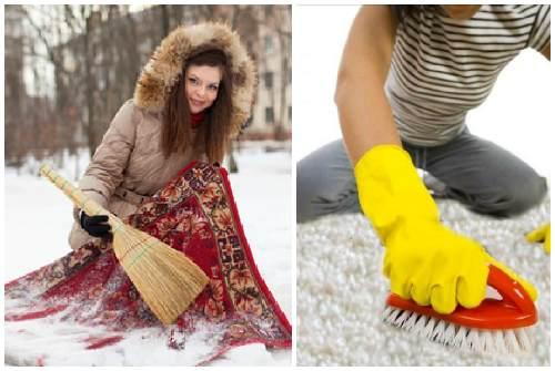чистка снегом и щеткой