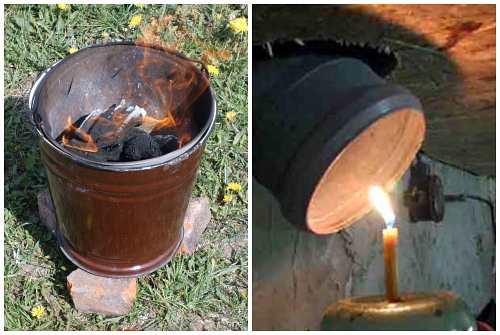 жаровня из ведра и свеча у трубы