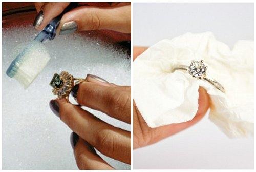 мытье колец с камнями