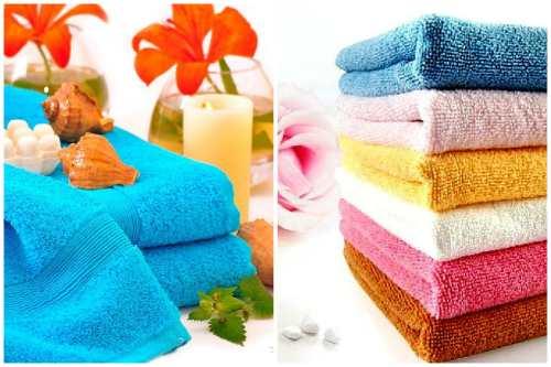 пушистые цветные полотенца