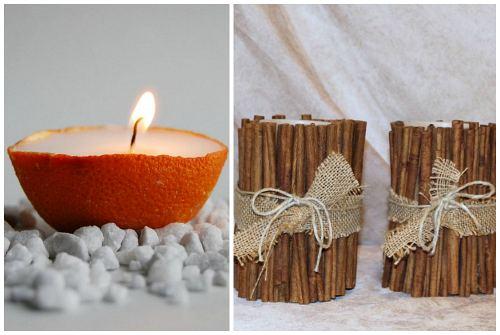 свечи с апельсином и корицей