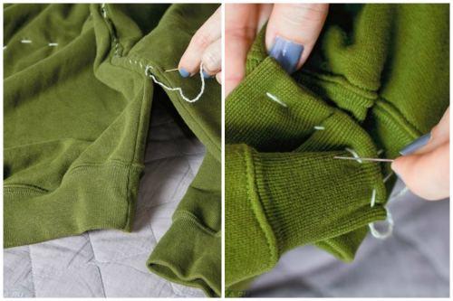 Пришиваем рукава к туловищу, а затем сшиваем между собой