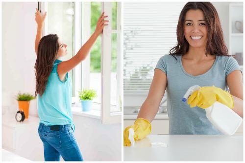 Проветривание и влажная уборка
