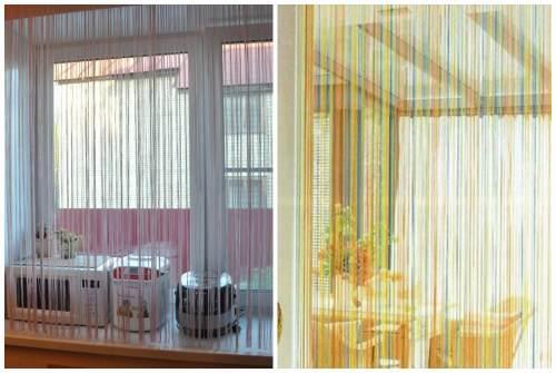 белые и радужные шторы