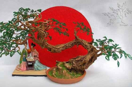 Бонсай из бисера в японском стиле