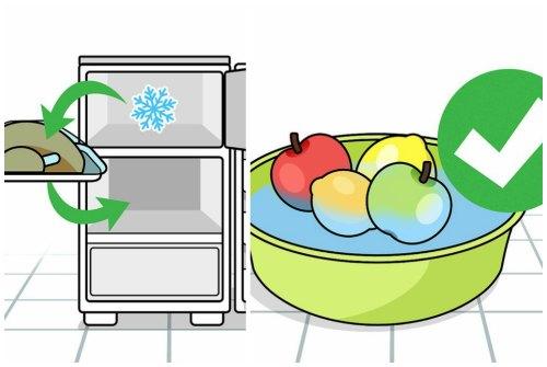 разморозка и мытье фруктов