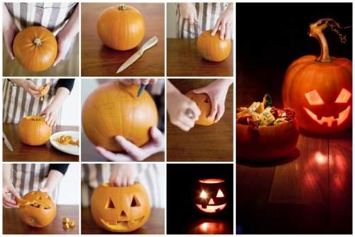 """вырезание """"тыквенной головы"""" на Хэллоуин"""