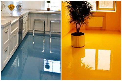 фото кухни с наливным полом