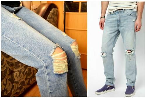 колени на джинсах