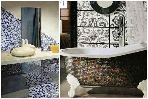 мозаика на стене и сантехнике