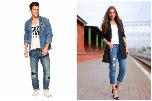Парень и девушка в модных джинсах