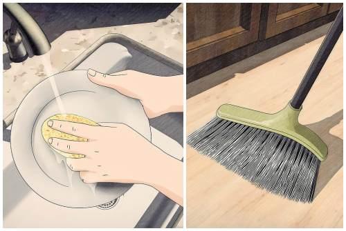 мытье посуды и уборка