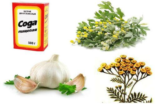 сода, чеснок и травы