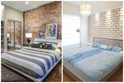 цветной и белый кирпич в спальне