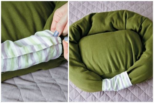 Прошивка рукавов тканью и готовая лежанка
