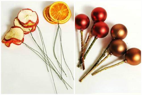 Сушеные фрукты и елочные игрушки