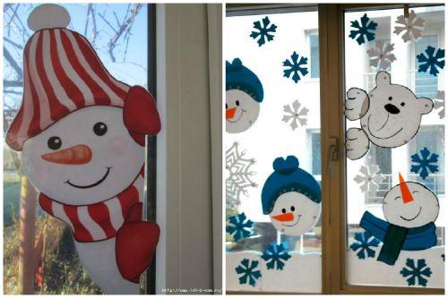Снеговик на стекле