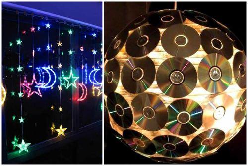 Украшения из светодиодной ленты и компакт-дисков