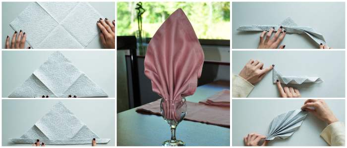 Как красиво сложить салфетки в стакан