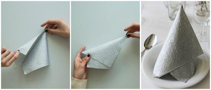 Как красиво сложить тканевую салфетку - 2 этап